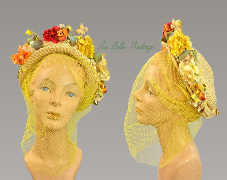Straw Halo Hat Vintage 1940s Summer Floral Chapeau Yellow Veil image 0