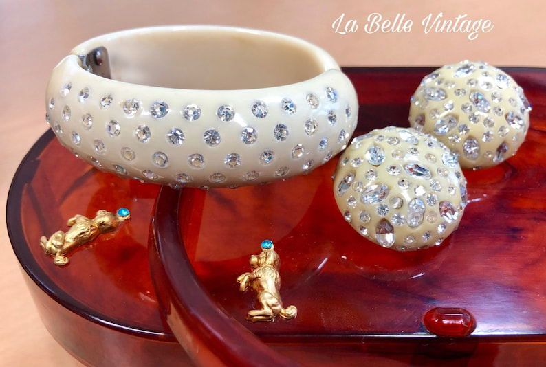 Weiss Signed Bracelet & Earrings Set Vintage 1950s Chunky Cuff image 0