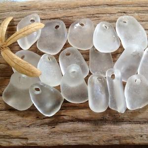 white jewelry supplies MERMAID MINTS ...12 genuine sea glass beads