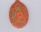 Vintage Egyptian Revival 2 Sided Glass Pendant Bohemian Pressed Glass Red Green Trimmed 40 x 30 mm