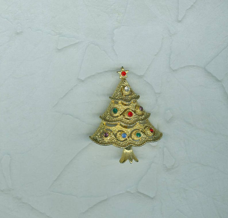 709457754 Vintage Signed JJ Christmas Tree Pin Brooch 3 Tiered | Etsy