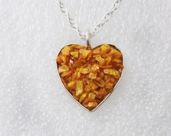Heart pendent of Crushed Orpiment Necklace