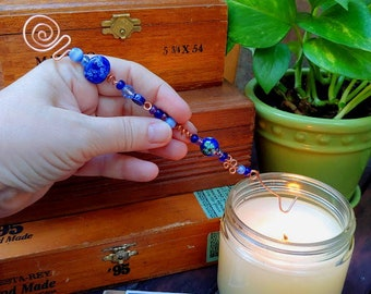 handmade hammered copper candle snuffer with blue glass beads one of a kind magickal wand Christmas ornament