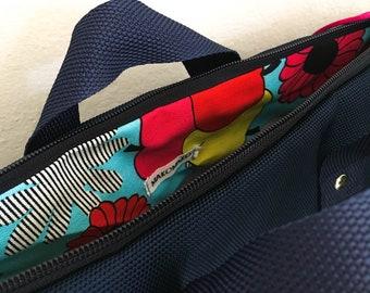 Vegan backpack, handmade blue bag, colourful pattern lining, zipped bag, woman bag, waterproof, computer case