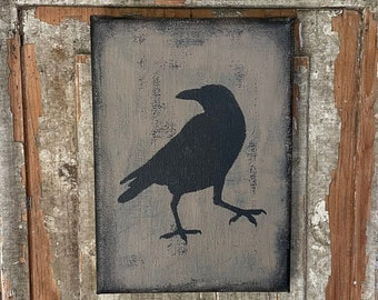 Primitive colonial crow canvas wall shelf sitter cupboard tuck brown black rustic distressed picture halloween fall autumn decor