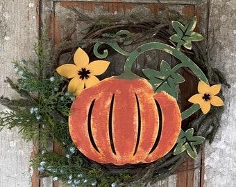 Primitive Halloween Wood pumpkin, wall door wreath hanger, shelf sitter, fall autumn decoration, reversible plaque sign, flowers vines