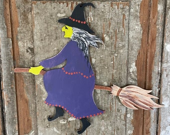 Primitive Halloween Decor, Wood Witch Hanging, reversible silhouette wooden door wall wreath hanger, rustic distressed holiday accent