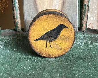 Primitive Crow Raven Paper Mache Pantry Box, mustard yellow black, rustic distressed, keepsake Halloween Fall Decor Christmas gift box