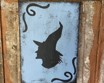 Primitive Halloween Decor canvas wall shelf sitter cupboard tuck blue black witch silhouette rustic distressed picture fall autumn