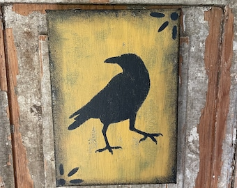 Primitive colonial crow canvas wall shelf sitter cupboard tuck antique yellow gold rustic distressed picture halloween fall autumn decor