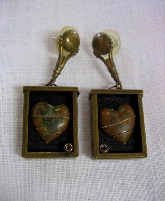 My Heart Is Your Prisoner - Vintage Artisan Earrin