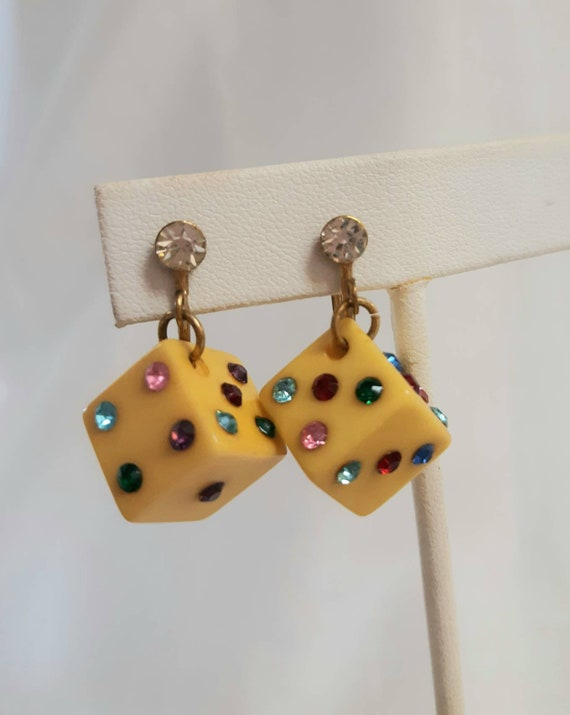 Vintage Bakelite Dice Earrings Rainbow Rhinestone