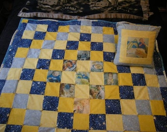 ON SALE!! Handmade Customized 2-Piece Nursery Set Quilt and Pillow with Imprinted Photos