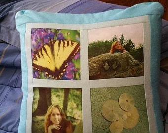 ON SALE!! Handmade Customized 4-Square Photo Collage Pillow