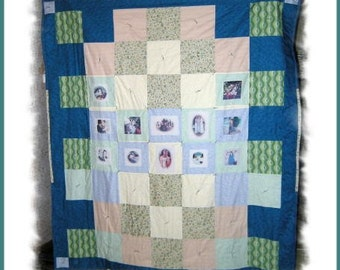ON SALE!! Handmade Customized Imprinted Photo Montage Sofa-Twin Size Quilt