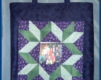 ON SALE!! Handmade Stunning Quilt Block Photo Pocket Tote Bag