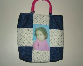 ON SALE!! Handmade Customized 9-Patch Tote Bag with Imprinted Photo and Purchased Handles