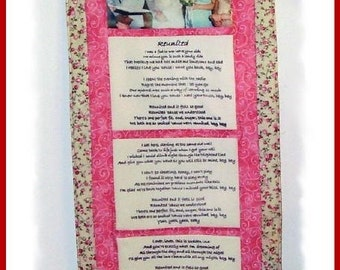 ON SALE!! Handmade Customized Imprinted Photo and Text Wall Quilt