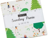 Sunday Picnic Moda Charm Pack 42 - 5 quot precut fabric quilt squares by Stacy Iest Hsu