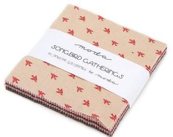 Primitive Gatherings Songbird Gatherings Red Cardinal Ivy Print 1164 13 Moda Fabric Yardage