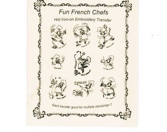 a74a8dd37b4da8 M214 Vintage Fun French Chef Tea Towel Embroidery pattern Hot Iron transfer