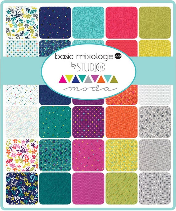 Basic Mixologie 2018 Charm Pack by Studio M; 42-5 Inch Precut Fabric Quilt Squares
