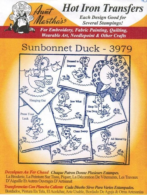 New Sunbonnet Duck 3979 Aunt Martha\'s Embroidery Transfer | Etsy