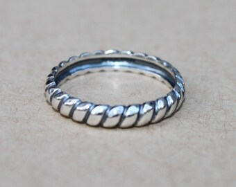 e464eced211bf3 Silpada Oxidized Sterling Silver Twisted Rope Belle Fleur Sz 6 Stacking Ring  R2745