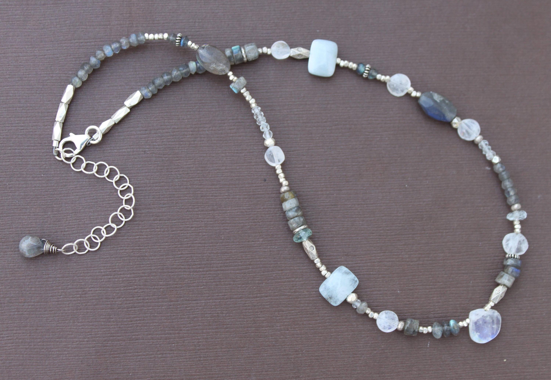 white labradorite Chain Selma with Landschaftsjaspis and Moonstone