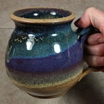 Earthy Stoneware Mug - Handmade Pottery Mug in Honey, Purple and Blue - Earth Tone Mug