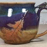 Pottery Mug with Oak Leaf - Treehugger Mug - Large Stoneware Mug - Large Handle Mug