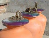 Olla - 1.25 Gallon Garden Irrigation Pot - Gardener Gift - Olive Purple and Blue Lid