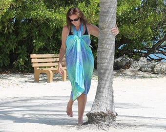 Pretty as a Peacock ... hand painted silk sarong
