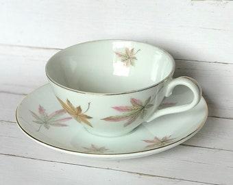 Vintage Maple Leaf Pattern Teacup and Saucer