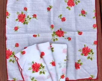 Vintage Rose Cloth Napkins, set of 4