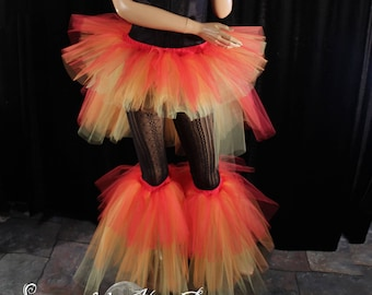 Fire Raver set tutu skirt with boot covers rave dance club party leg warmers neon retro gogo fairy costume - All sizes - Sisters of the Moon