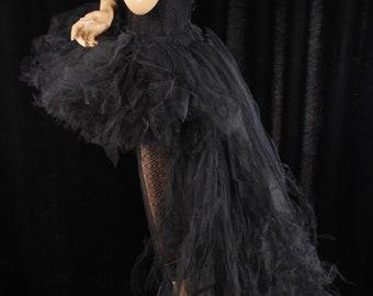 Black wedding Adult tutu tulle skirt Formal hi low bachelorette bridal trashy bustle back goth dance costume -All Sizes- Sisters of the Moon