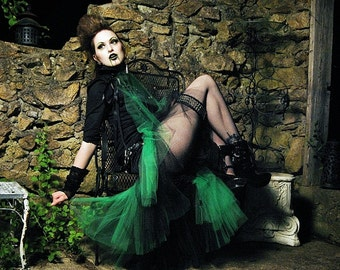 Gothic Flamenco Skirt with tulle trimhi low bustle back formal dance costume black green witch punk -You Choose size- Sisters of the Moon
