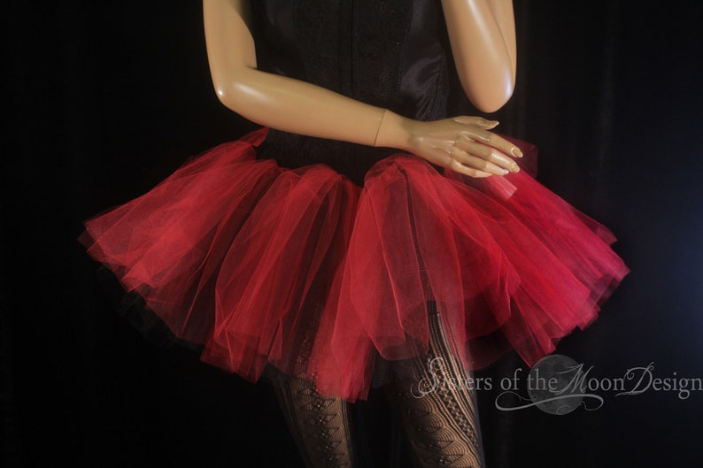 50dbbf33fefb Ready to ship XS S two tone tutu adult tulle skirt dance red black  petticoat roller derby goth gothic club wear dance Sisters of the Moon