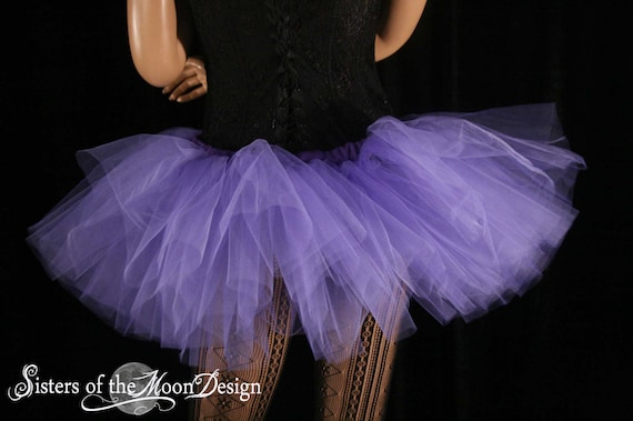 two tone tutu adult skirt dance black lavender poofy petticoat roller derby club