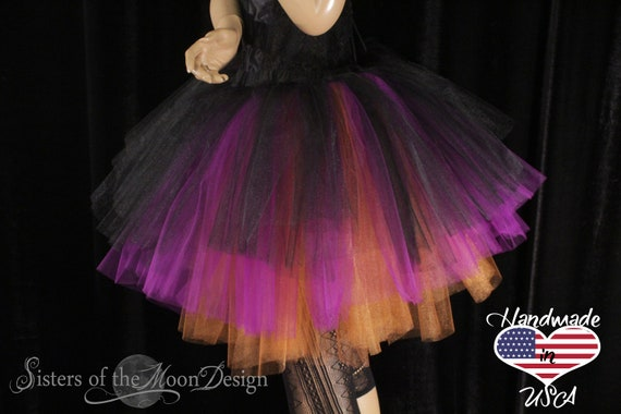 Three Tier Tulle Tutu Skirt Purple Orange Black Layered Etsy