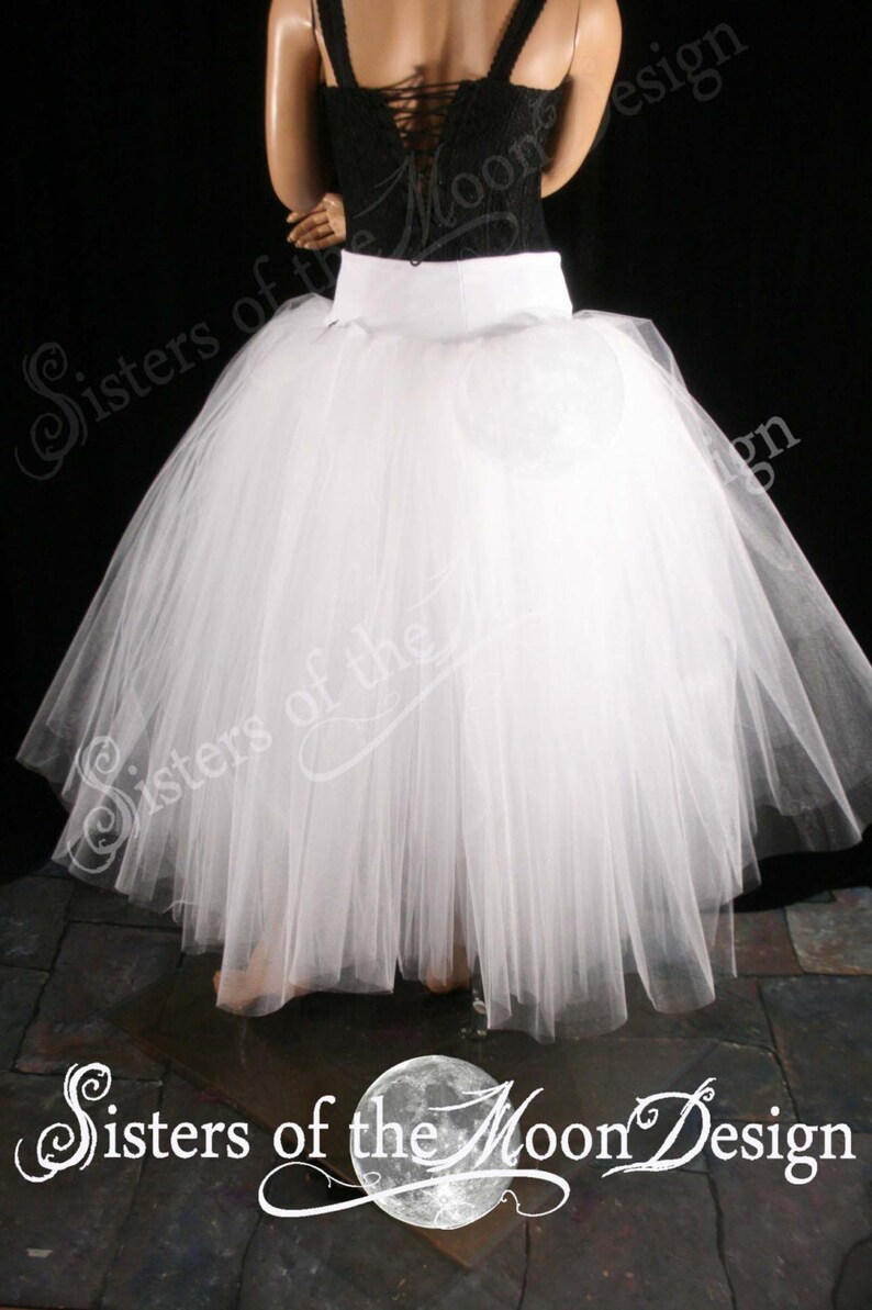 White Glimmer tulle skirt tutu floor length petticoat two layer dance formal ballet wedding bridal prom gypsy All Sizes-Sisters of the Moon
