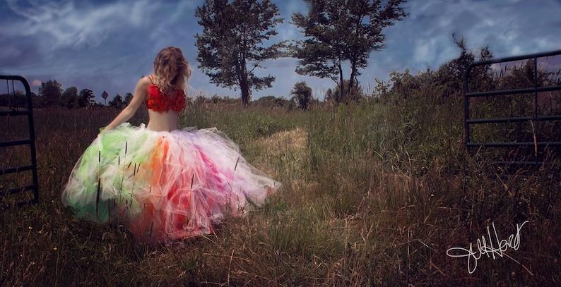 f3cd7e6088d0 White rainbow Bridal floor length tulle skirt adult tutu pride | Etsy