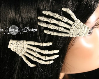Skeleton hand hair clips barrette with Plain nails pair spooky gothic halloween costume skull witchy rockabilly goth  - Sisters of the Moon