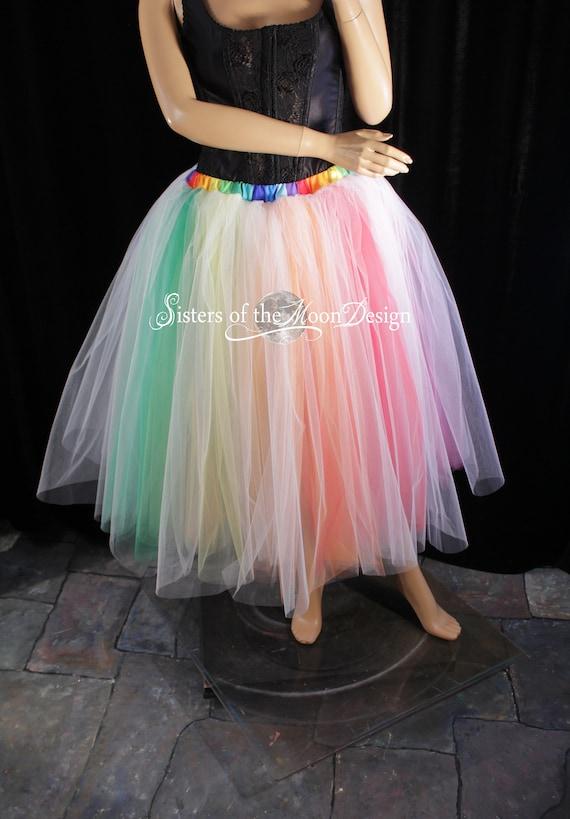 Handmade White dance tulle tutu skirt petticoat knee length bridal bachelorette
