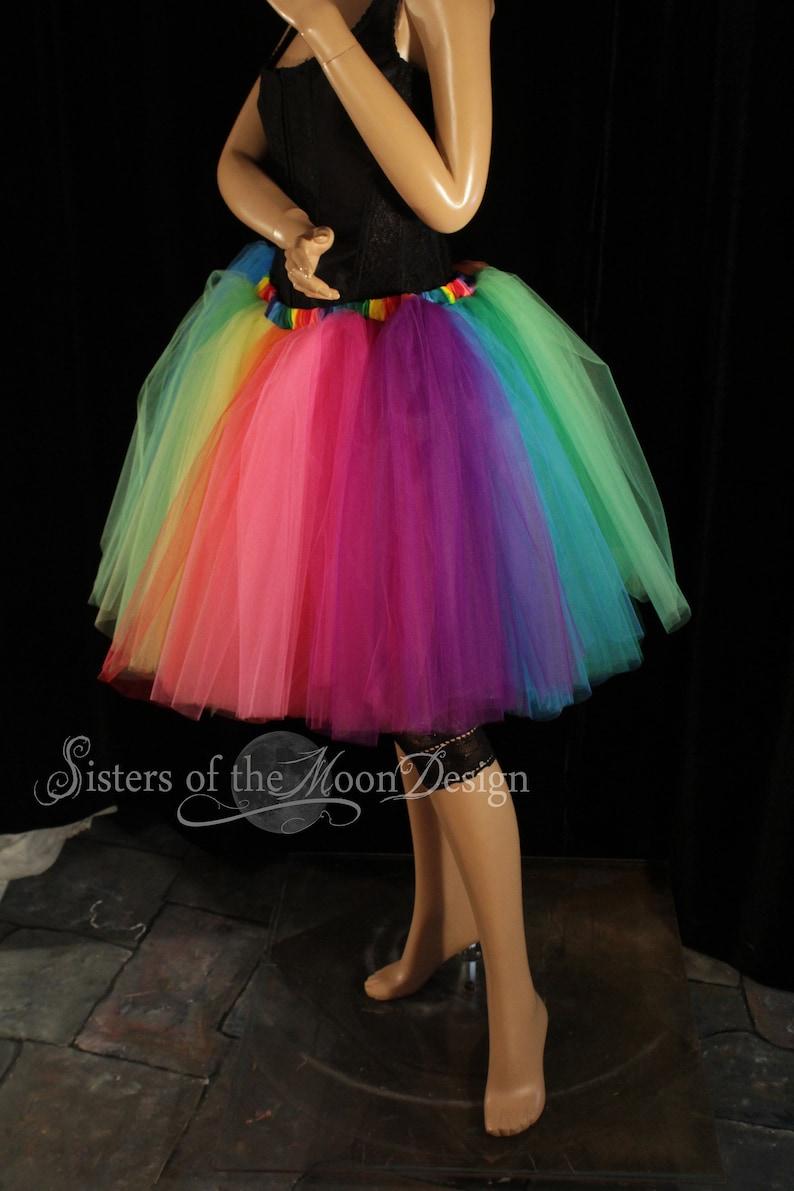 b7622db91 Double Rainbow tutu tulle skirt knee length adult Pride run   Etsy