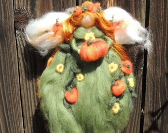 Wool Doll - Pumpkin Fairy - Waldorf inspired needle felted autumn by Rebecca Varon