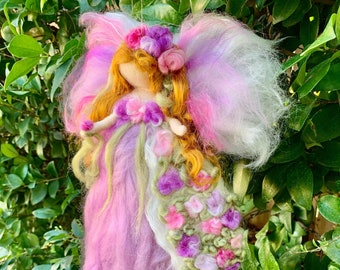 Lavender Ethereal Floral Blessing Fairy- Flowers Needle felted wool angel Waldorf inspired creation by Rebecca Varon gift, holiday present
