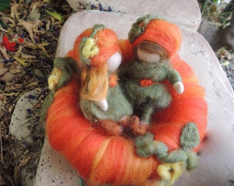 Sweet Young Pumkin's Love - Waldorf Inspired Needle Felted Wool Soft Sculpture - fairy  Medium