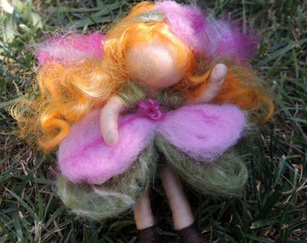 """Bendy Fairy-Needle felted fairy elfe soft sculpture """"Pink Petunia"""" Waldorf Inspired by Rebecca Varon"""